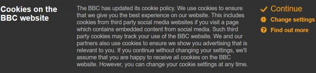 BBC cookie settings