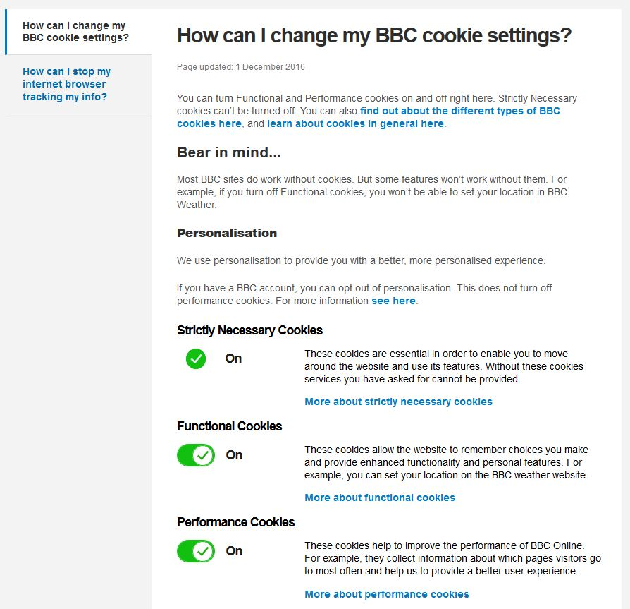 BBC cookie opt-in details